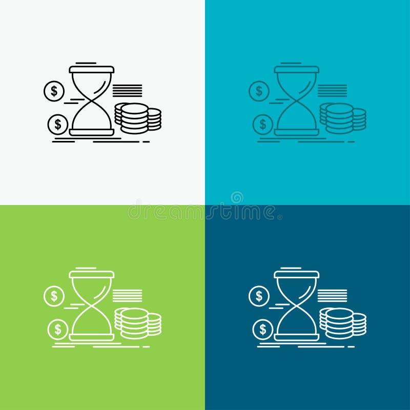 Ampulheta, gestão, dinheiro, tempo, ícone das moedas sobre o vário fundo Linha projeto do estilo, projetado para a Web e o app Ve ilustração do vetor