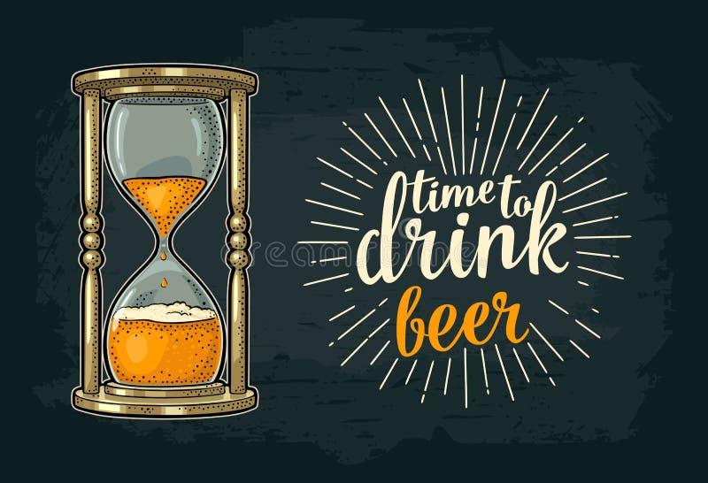 Ampulheta retro com cerveja Gravura do vintage do vetor ilustração stock