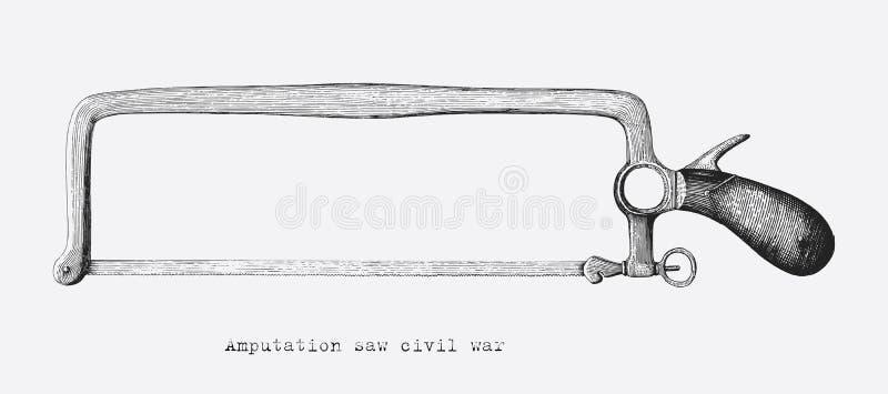 Amputacja zobaczył cywilna wojna wręczać rysunkowego rocznika styl odizolowywa na w ilustracja wektor