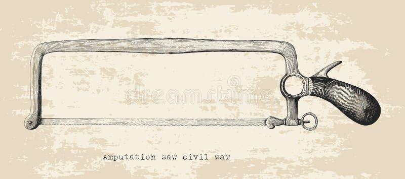 Amputacja zobaczył cywilna wojna wręczać rysunkowego rocznika styl odizolowywa na w royalty ilustracja