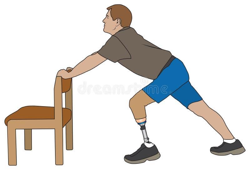 Amputado que estira con la silla ilustración del vector