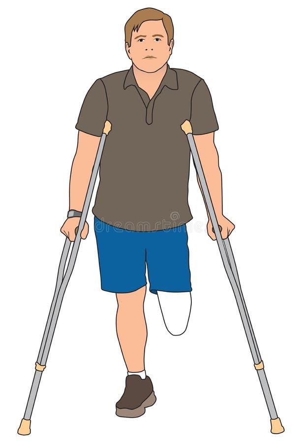 Amputado que usa las muletas libre illustration