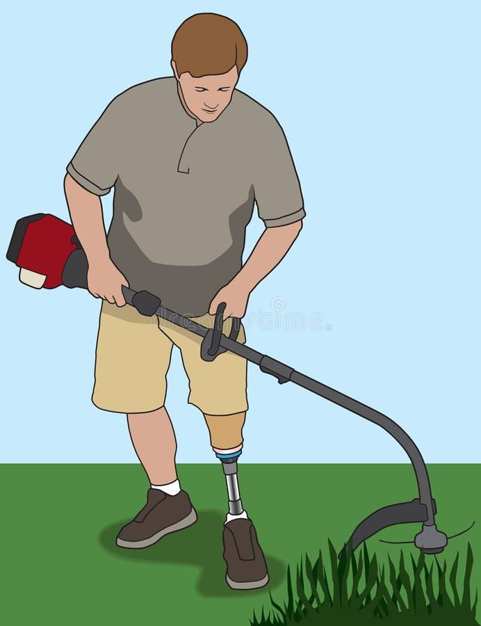 Amputado que usa Whacker de la mala hierba libre illustration