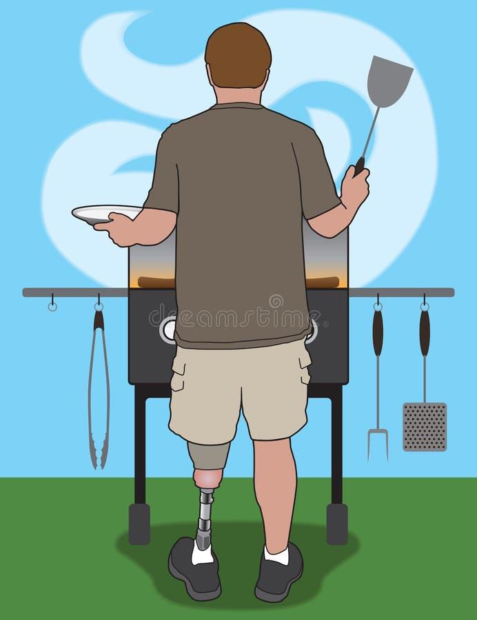 Amputato Barbecuer illustrazione di stock
