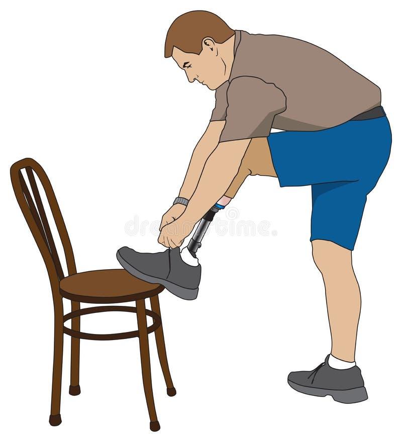 Amputato che lega scarpa royalty illustrazione gratis