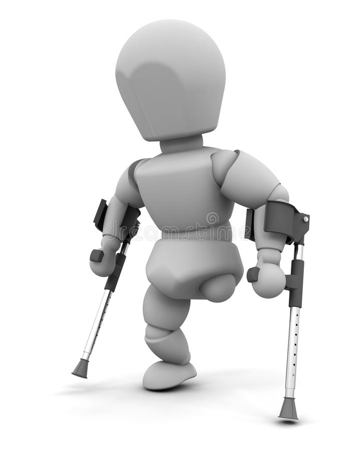 Amputee on crutches vector illustration