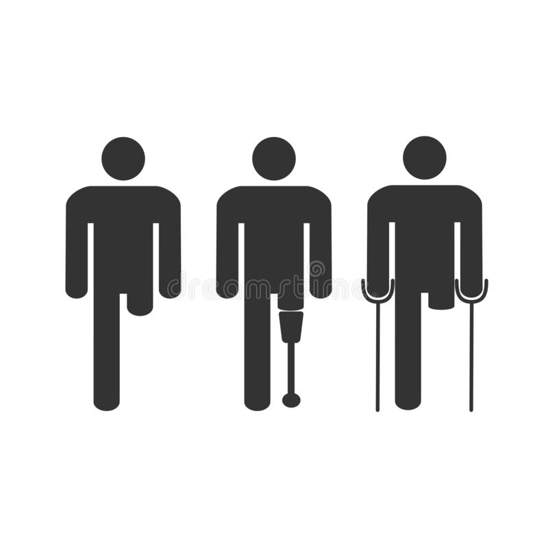 Amputee disabled man. Vector illustration, flat design. Amputee disabled man flat vector stock illustration