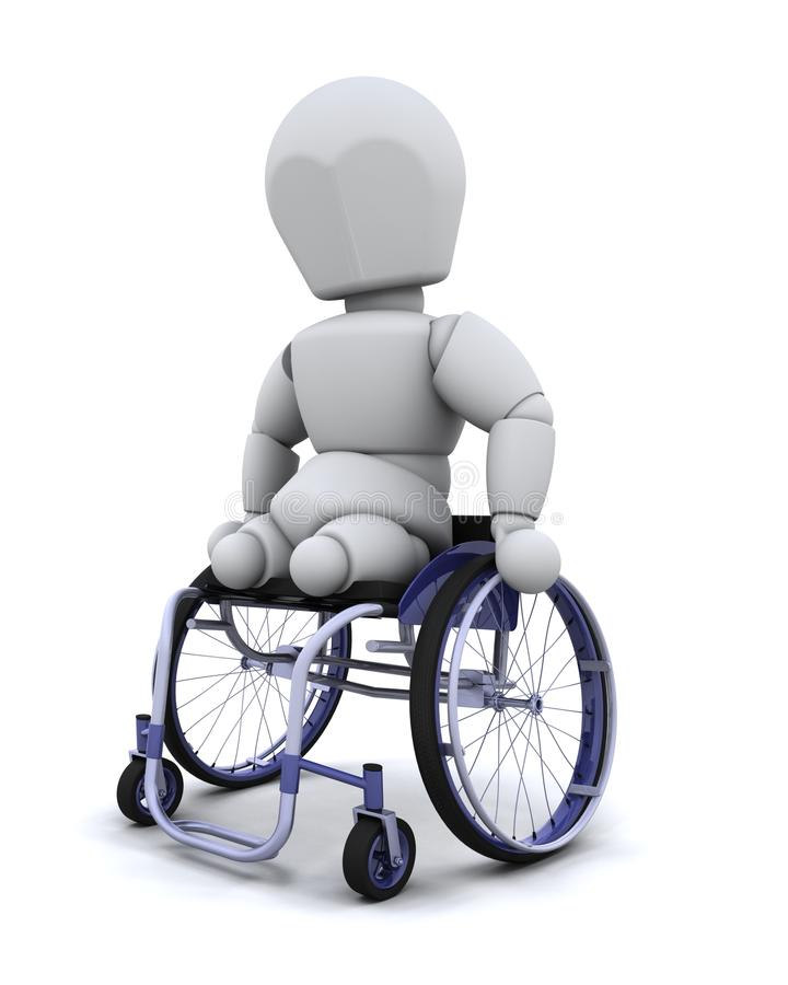 Amputee in wheelchair stock illustration
