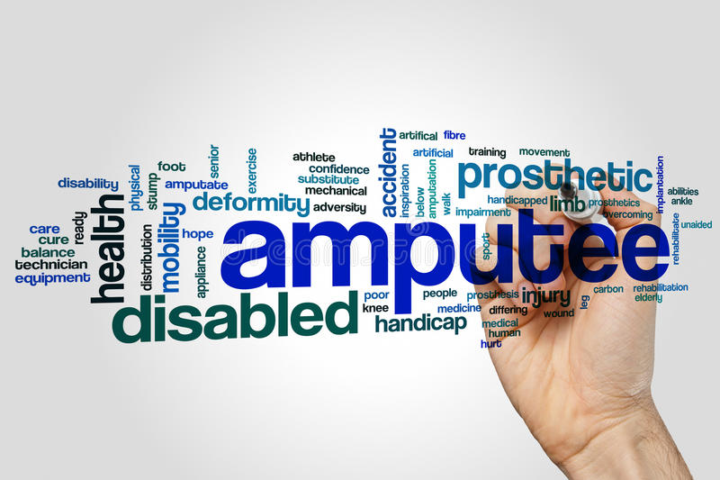 Amputee word cloud concept on grey background royalty free stock photo