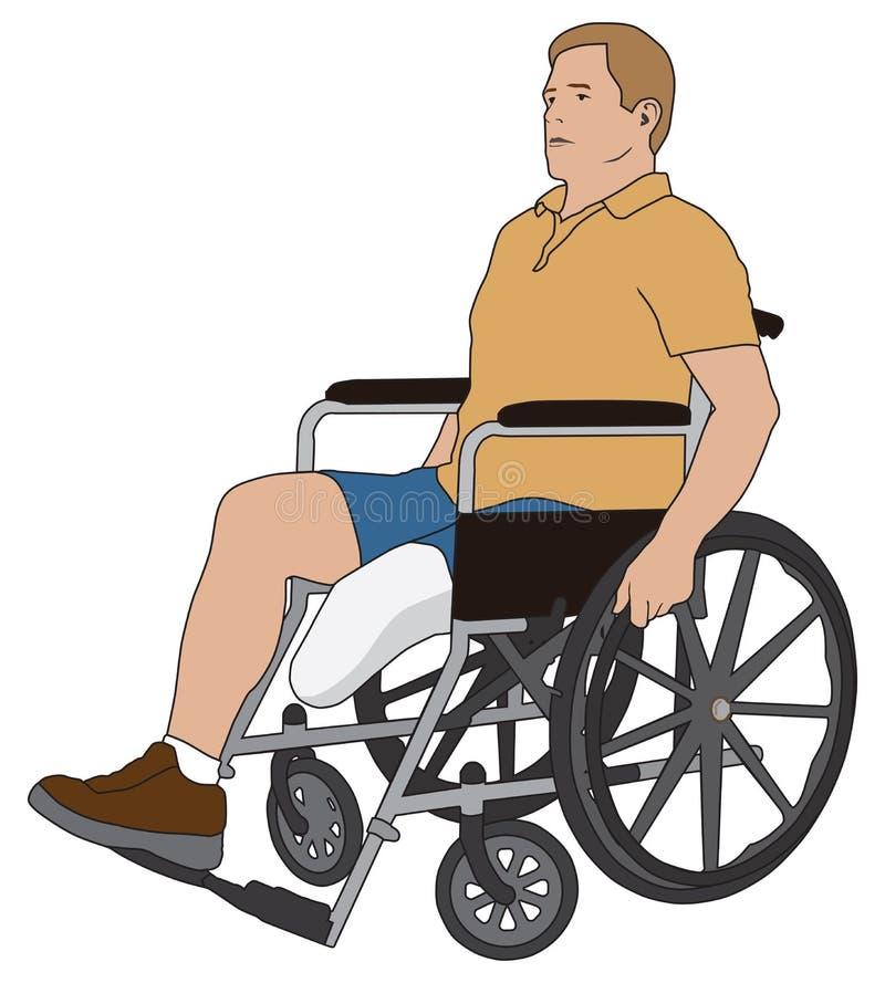 Amputowany w wózku inwalidzkim royalty ilustracja