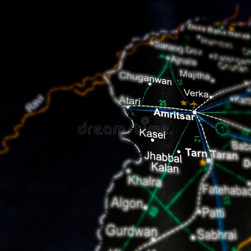Amritsar city name displayed on geographic map in India. Jalandhar, panjab, displaying, geographical, location, located, kutukshetra, place, yamunanagar, delhi stock photos