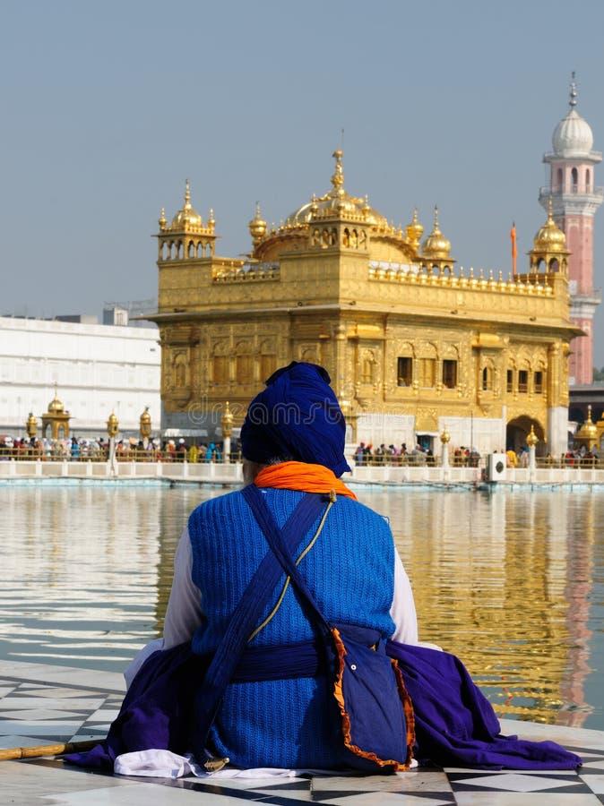 Amritsar, Golden Temple, India. Pilgrims praying at the Golden temple (Sri Harimandir Sahib) in Amritsar, India stock image