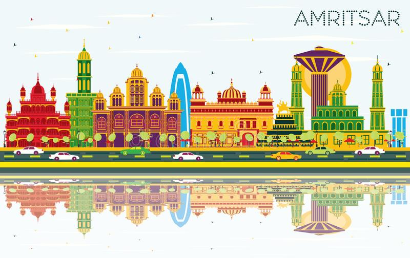 Amritsar India City Skyline with Color Buildings, Blue Sky and R. Eflections. Vector Illustration. Business Travel and Tourism Concept with Historic Architecture vector illustration