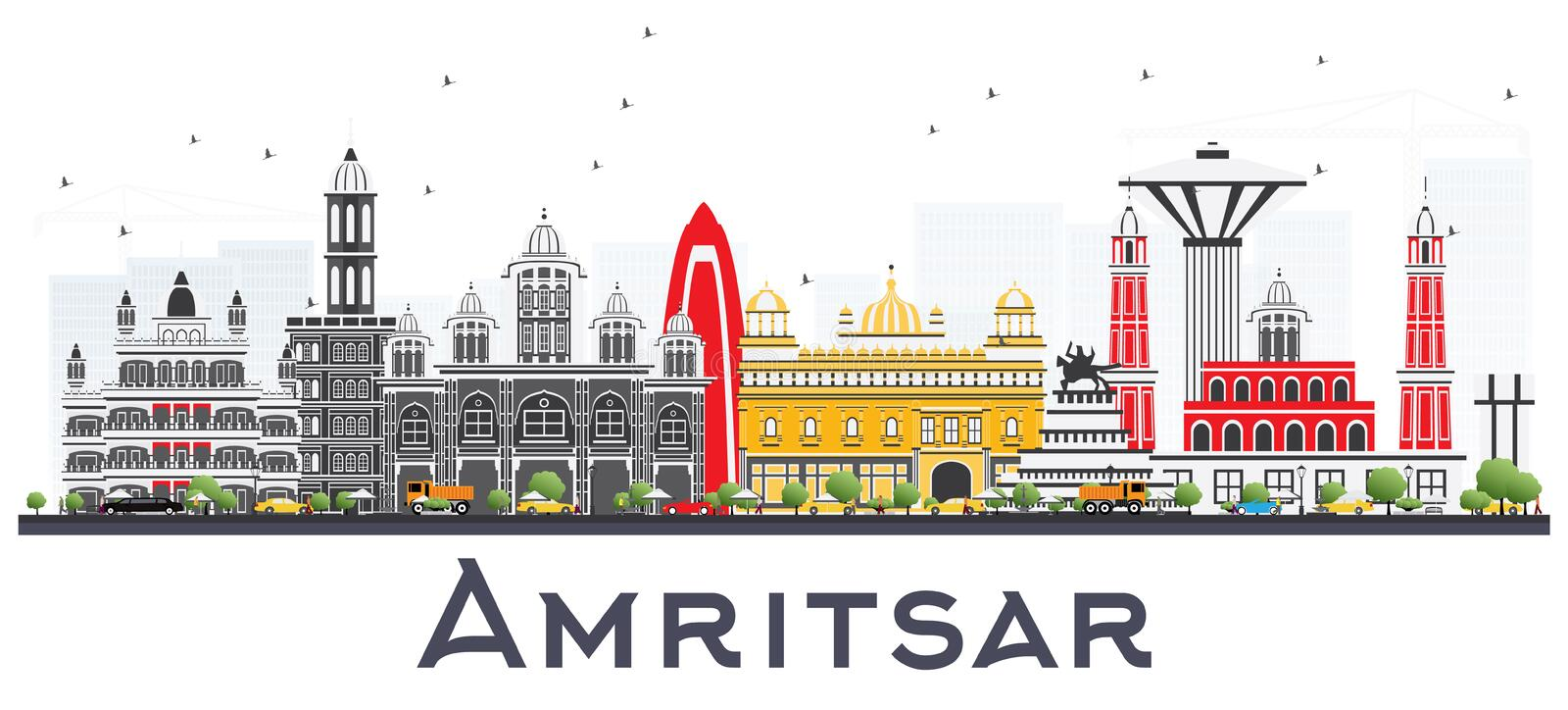 Amritsar India City Skyline with Gray Buildings Isolated on Whit. E. Vector Illustration. Business Travel and Tourism Concept with Historic Architecture vector illustration