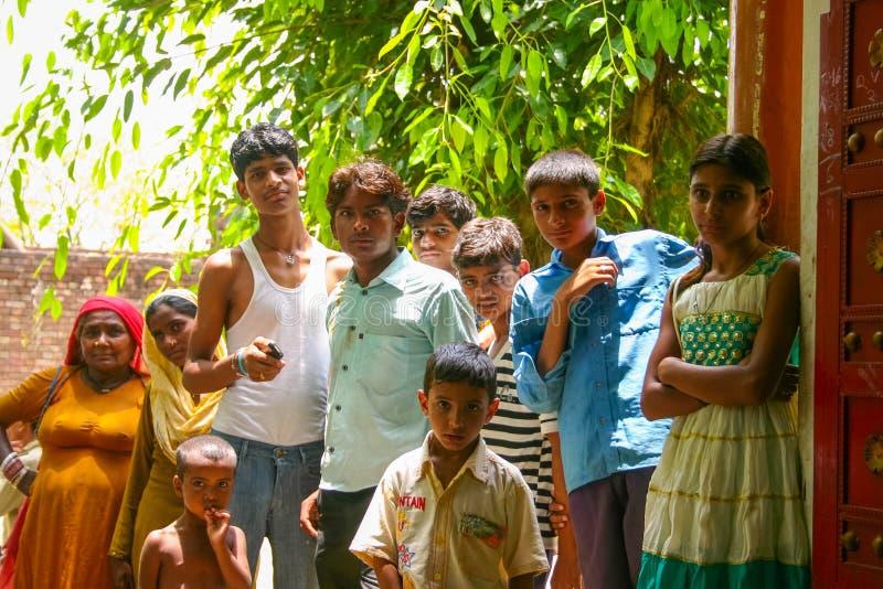 Amroha, Utar Pradesh, India - 2011: Unidentified Indian people. From slums stock photos
