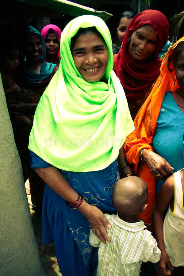 Amroha, Utar Pradesh, India - 2011: Unidentified Indian people. From slums stock image