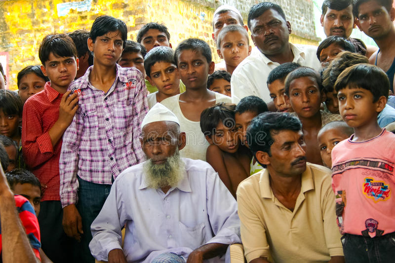 Amroha, Utar Pradesh, India - 2011: Unidentified Indian people. From slums royalty free stock photography