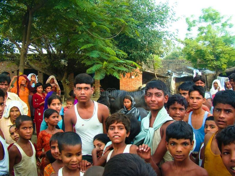 Amroha, Utter Pradesh, INDIA - 2011: Unidentified poor people living in slum royalty free stock image