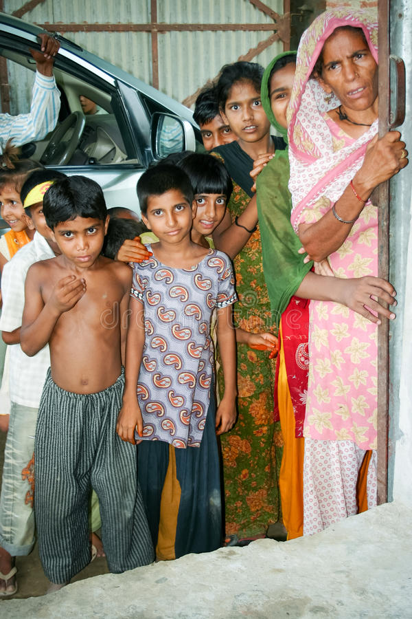 Amroha, Utter Pradesh, INDIA - 2011: Unidentified poor people living in slum stock photography