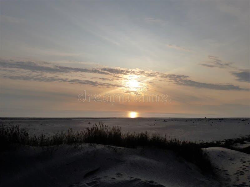 Amrum sunset on the beach stock image
