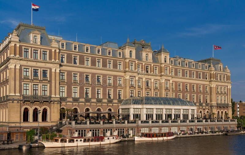 Amstel hotell i Amsterdam De distingerade Amstel interkontinentala fläckarna en höjdpunkt av stil och skönhet placerade på arkivfoton