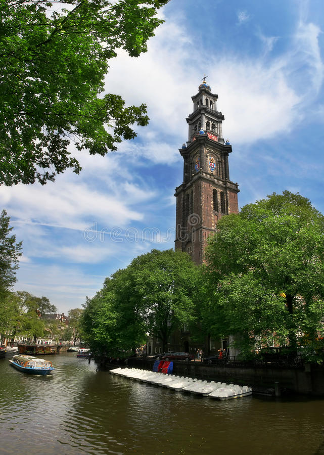 Free Amstel River And Westerkerk Church In Amsterdam. Royalty Free Stock Images - 13829609
