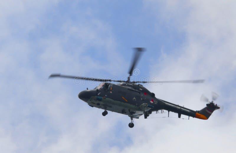 Amsterdão, 20 aug-2010, helicóptero do lince de Westland imagens de stock royalty free