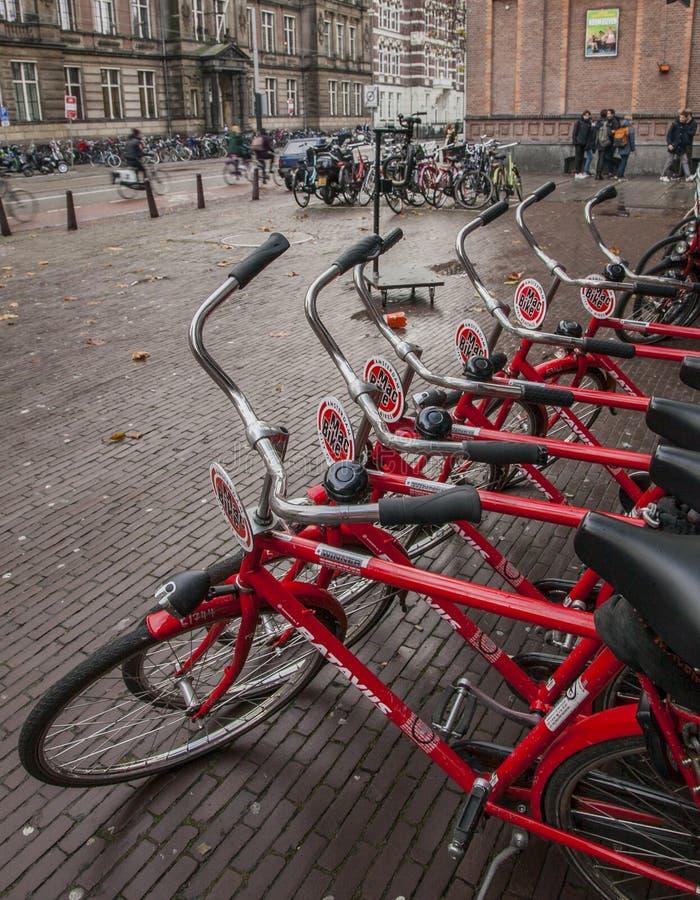 Amsterdão, os Países Baixos - ruas e bicicletas vermelhas foto de stock royalty free
