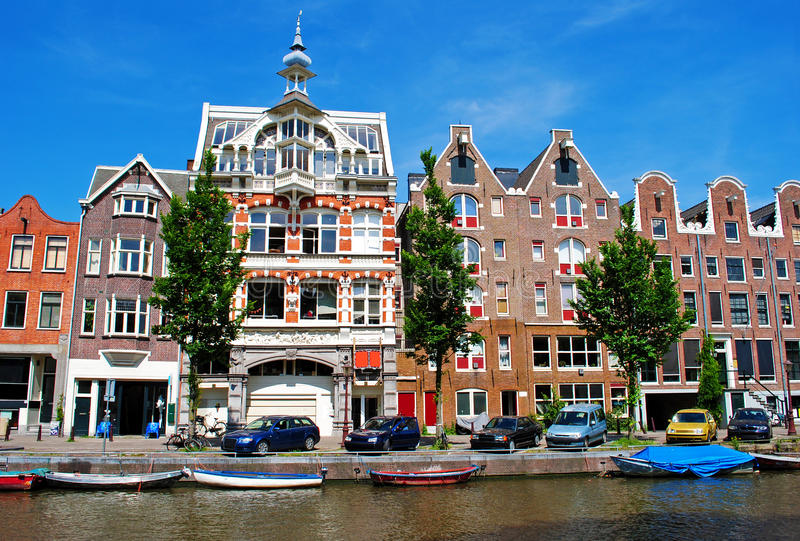 Amsterdam. Houses by the canal in Amsterdam, Holland royalty free stock photos