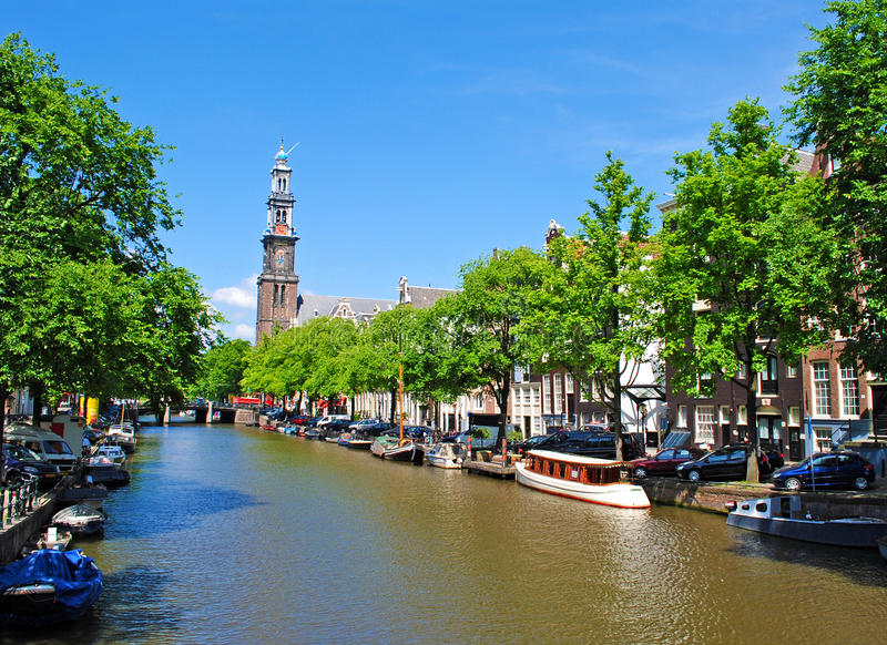 Amsterdam. Pretty canal in Amsterdam, Holland stock photos