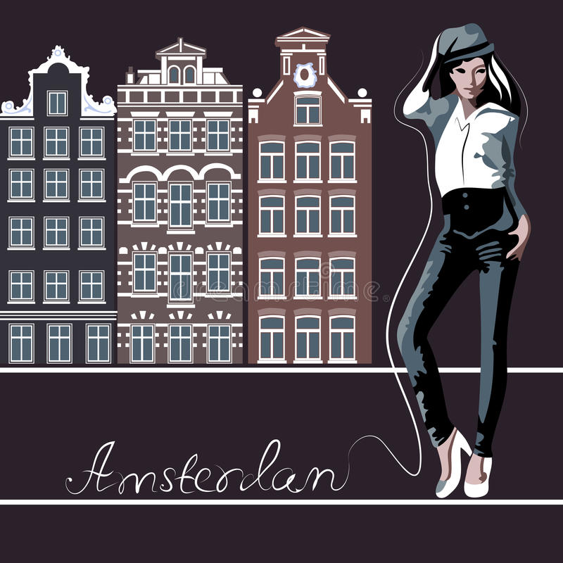 Amsterdam. Abstract woman in Amsterdam (poster or card vector illustration