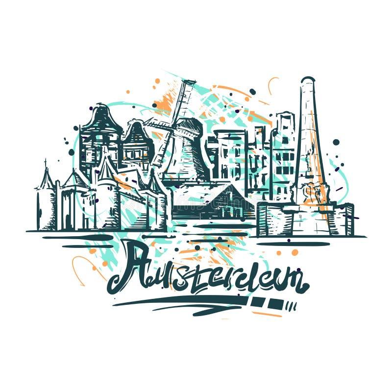 Amsterdam abstrakt färgteckning Amsterdam skissar vektorillustrationen royaltyfri illustrationer