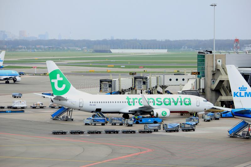Amsterdam Airport Schiphol The Netherlands - April 14th 2018: PH-HXI Transavia Boeing 737-800. At the gate royalty free stock images