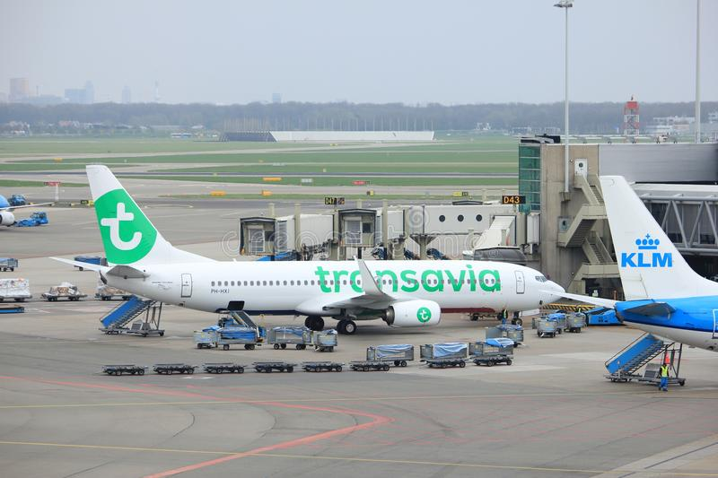 Amsterdam Airport Schiphol The Netherlands - April 14th 2018: PH-HXI Transavia Boeing 737-800. At the gate royalty free stock image