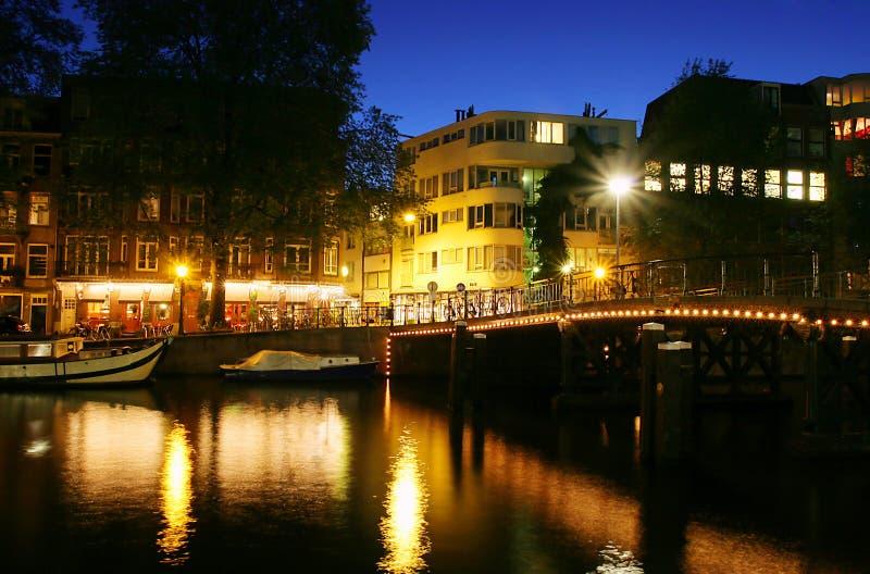 Amsterdam alla notte. fotografia stock