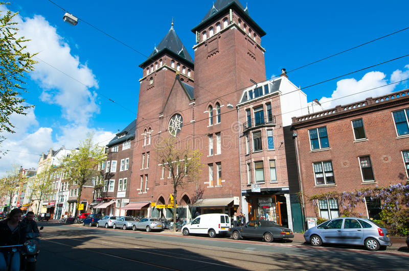 AMSTERDAM-APRIL 30: Amsterdam Fatih Mosque in the famous Jordaan area on April 30,2015, the Netherlands. stock image