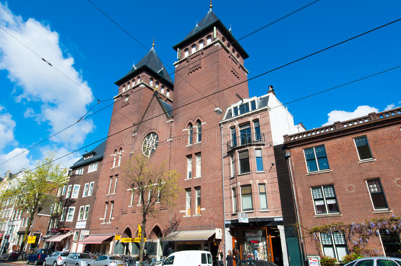 AMSTERDAM-APRIL 30: Fatih Mosque in the Rozengracht street on April 30,2015, the Netherlands. royalty free stock photography