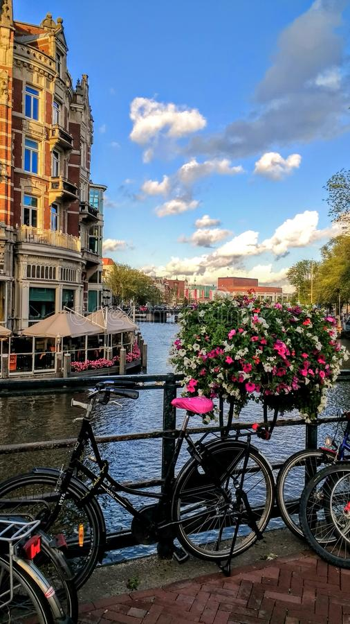 Amsterdam Canal bicycle flowers view sky. Amsterdam Architektur city travel view stock photo