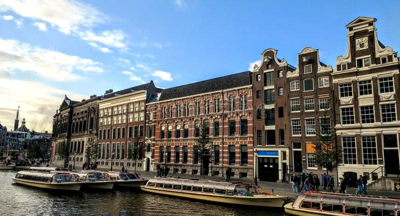 Amsterdam canal boat architecture. Amsterdam Architektur city travel view canal sky stock photography