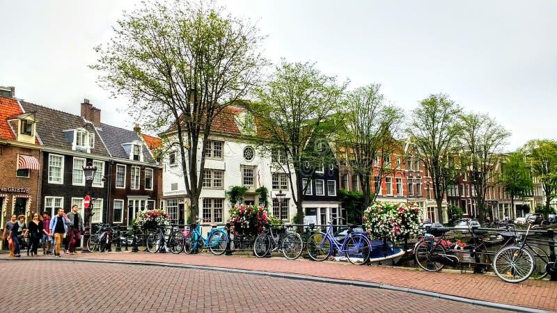 Amsterdam City bridge bicycles. Amsterdam Architektur travel city transport vridge royalty free stock image