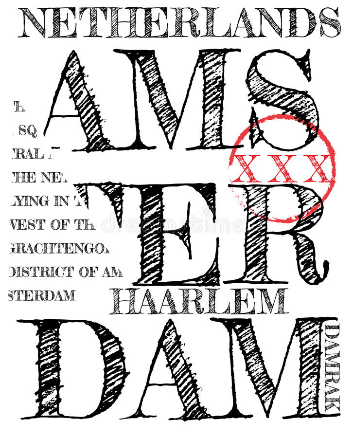 Amsterdam Athletic sport typography, t-shirt graphics, vectors. Fashion style royalty free illustration