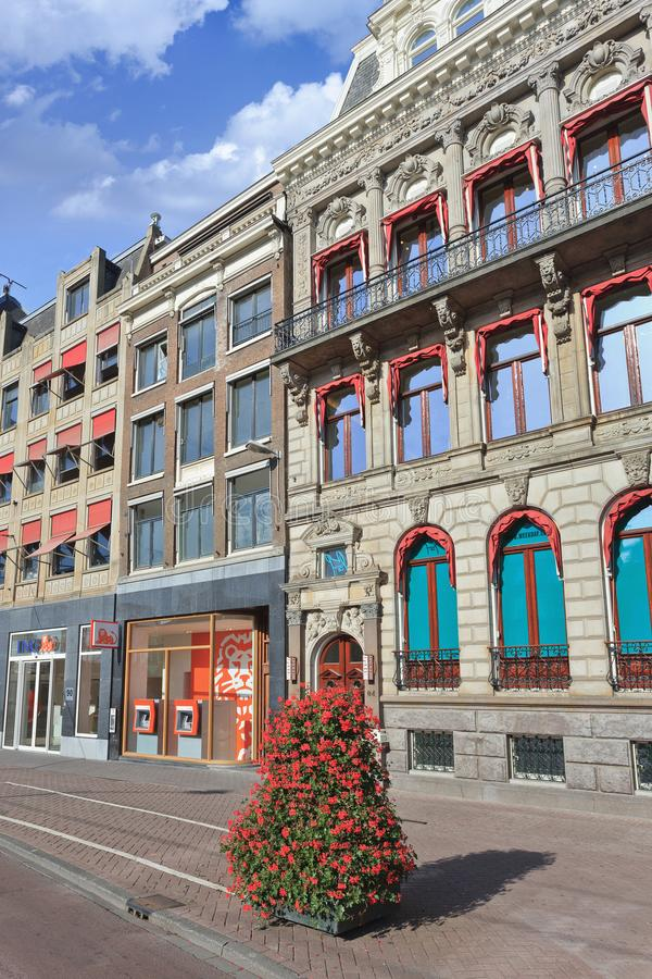 Ancient mansions in Amsterdam city center, The Netherlands stock photography