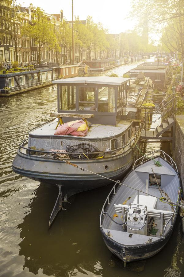 Amsterdam is autumn. Yellow trees among streets and canals stock photos