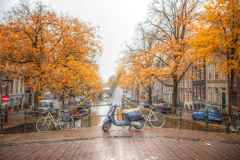 Amsterdam autumn. Beautiful places in Europe stock image