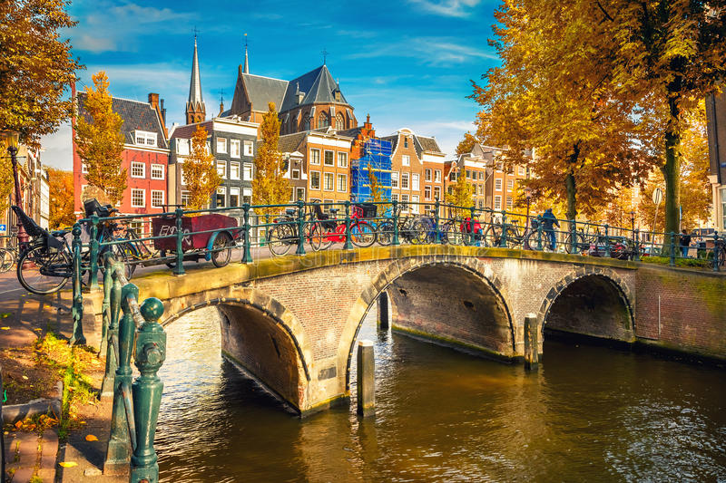 Amsterdam at autumn. Bridges over canals in Amsterdam at autumn royalty free stock photo