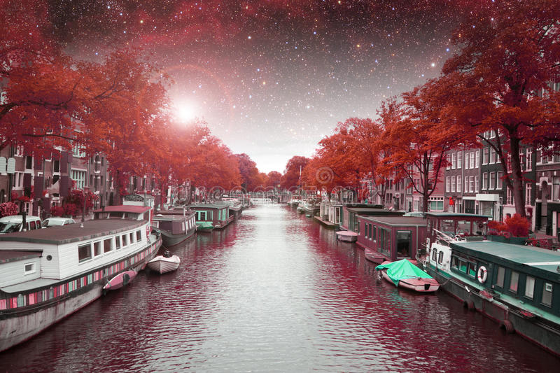 Amsterdam autumn night. Elements of this image furnished by NASA summer stock image