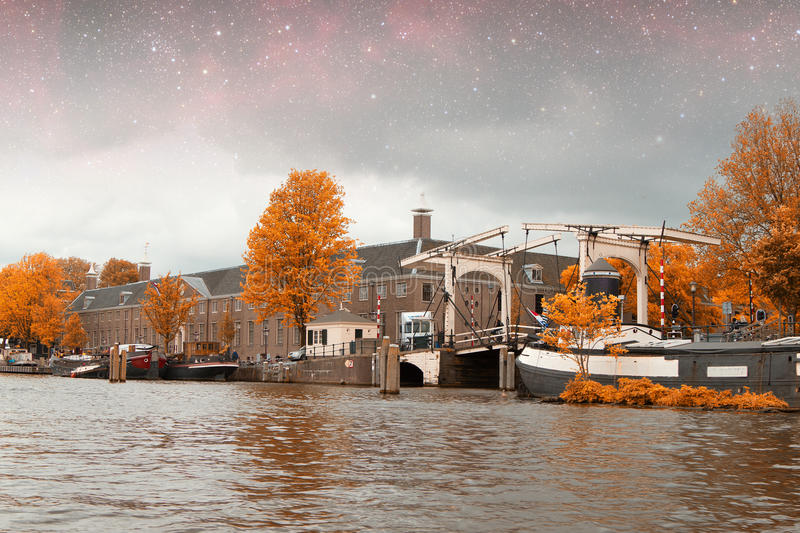 Amsterdam autumn night. Elements of this image furnished by NASA summer royalty free stock image