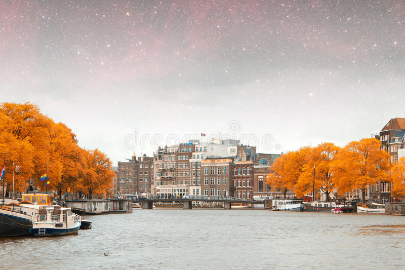 Amsterdam autumn night. Elements of this image furnished by NASA summer royalty free stock photos