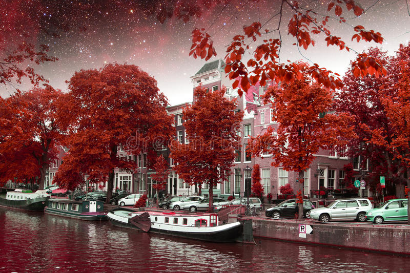 Amsterdam autumn night. Elements of this image furnished by NASA. Summer. picturesque landscape in Europe stock image