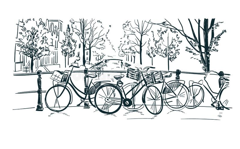 Amsterdam bicycles vector illustration sketch line sketch. Amsterdam bicycles vector illustration sketch royalty free illustration